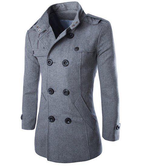 Turn-Down Collar Epaulet Design Double Breasted Long Sleeve Woolen Mens PeacoatMEN<br><br>Size: L; Color: GRAY; Clothes Type: Wool &amp; Blends; Style: Fashion; Material: Cotton,Polyester; Collar: Turn-down Collar; Shirt Length: X-Long; Sleeve Length: Long Sleeves; Season: Winter; Weight: 0.950KG; Package Contents: 1 x Peacoat;