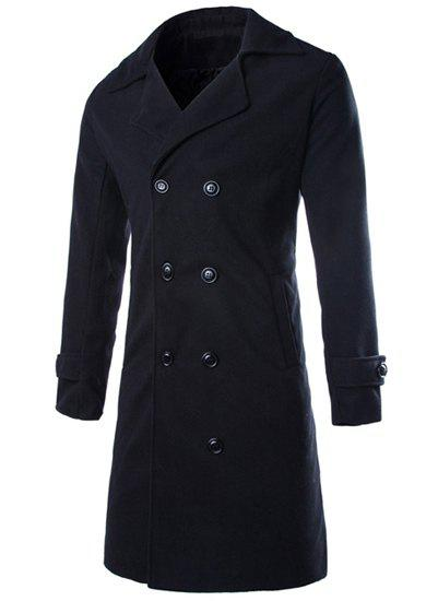Fashion Turndown Collar Woolen Longline Peacoat