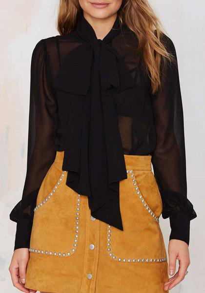 Affordable Alluring Bow Collar See-Through Long Sleeve Blouse For Women