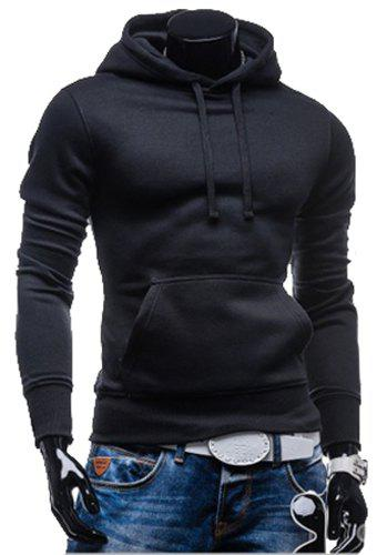 Laconic Drawstring Hooded Solid Color Front Pocket Fitted Mens Long Sleeves HoodieMEN<br><br>Size: 2XL; Color: BLACK; Material: Cotton Blends; Shirt Length: Regular; Sleeve Length: Full; Style: Casual; Weight: 0.350KG; Package Contents: 1 x Hoodie;