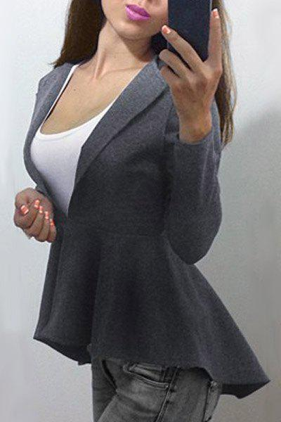Sale Stylish Round Collar Long Sleeve Solid Color Asymmetrical Women's Coat