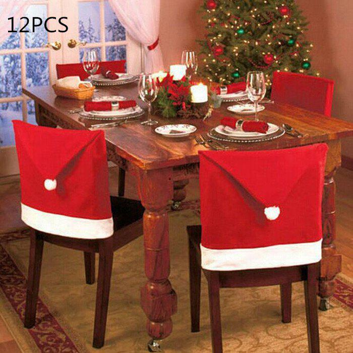 12PCS Santa Claus Hat Chair Back Cover for Christmas Dinner Decoration Cap SetHOME<br><br>Size: 12PCS; Color: RED; Material: Flannel; For: All; Usage: Christmas,New Year,Party; Color: Red;