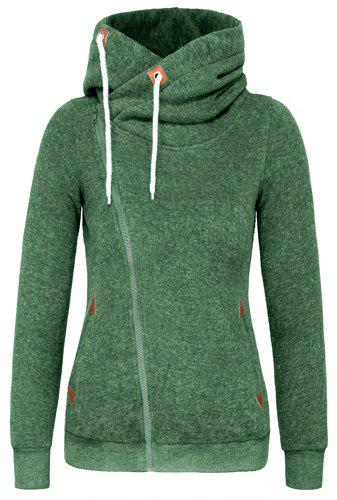 Novlety Irregular Hooded Skew Zippered Hoodie For WomenWOMEN<br><br>Size: L; Color: GREEN; Material: Polyester; Shirt Length: Regular; Sleeve Length: Full; Style: Active; Pattern Style: Others; Weight: 0.520kg; Package Contents: 1 x Hoodie;