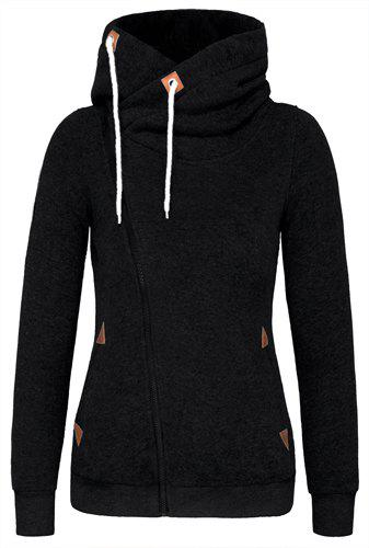 Novlety Irregular Hooded Skew Zippered Hoodie For WomenWOMEN<br><br>Size: M; Color: BLACK; Material: Polyester; Shirt Length: Regular; Sleeve Length: Full; Style: Active; Pattern Style: Others; Weight: 0.520kg; Package Contents: 1 x Hoodie;
