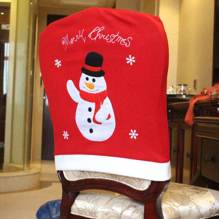 50 Off Snowman Pattern Chair Back Cover For Christmas