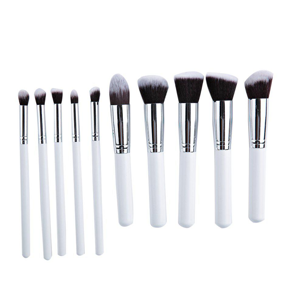 10pcs Makeup Cosmetics Liquid Foundation Blending Brush SetBEAUTY<br><br>Color: GREY; Features: Easy to Carry; Functions: Comestic for Party; Style: Round;