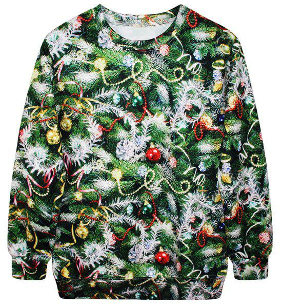Christmas Tree Sweater Womens: Green Stylish Round Neck Long Sleeve Bell And Tree Print