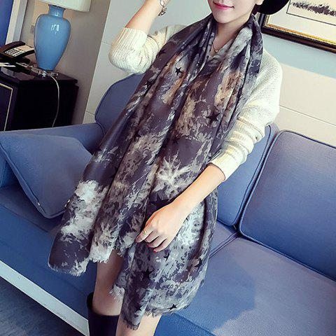 Online Chic Five-Pointed Star and Splash-Ink Pattern Fringed Warmth Scarf For Women