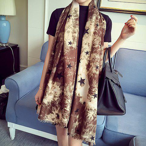 Discount Chic Five-Pointed Star and Splash-Ink Pattern Fringed Warmth Scarf For Women