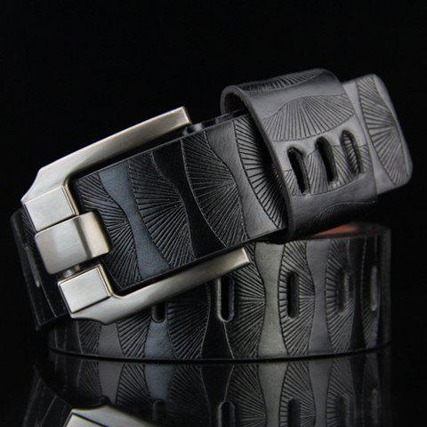 Stylish Pin Buckle Stripy PU Wide Belt For MenACCESSORIES<br><br>Color: BLACK; Group: Adult; Gender: For Men; Style: Fashion; Belt Material: PU; Pattern Type: Solid; Belt Silhouette: Wide Belt; Belt Length: 105CM-110CM; Belt Width: 3.5CM; Weight: 0.179KG; Package Contents: 1 x Belt;