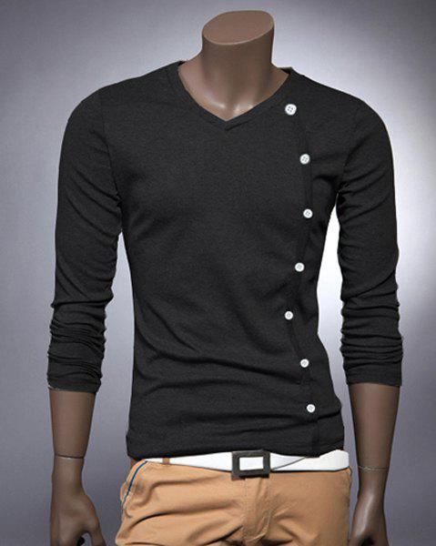 Unique V Neck Button Embellished Slimming Long Sleeve Men's T-Shirt