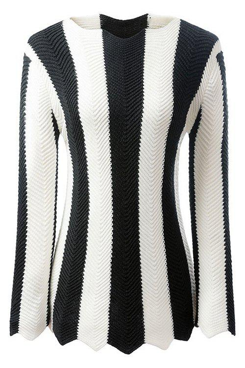 Latest Stylish Long Sleeve Black and White Striped Women's Jumper