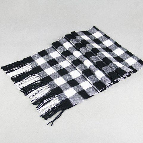 Stylish Classical Tartan Pattern Tassel Scarf For MenACCESSORIES<br><br>Color: BLACK; Scarf Type: Scarf; Group: Adult; Gender: For Men; Style: Fashion; Material: Acrylic; Season: Fall,Winter; Scarf Length: Above 175CM; Scarf Width (CM): 30CM; Weight: 0.20KG; Package Contents: 1 x Scarf;