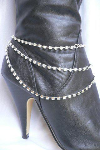 Rhinestone Claw Chain Layered Boot AnkletJEWELRY<br><br>Color: SILVER; Gender: For Women; Style: Trendy; Shape/Pattern: Others; Weight: 0.030kg; Package Contents: 1 x Anklet;