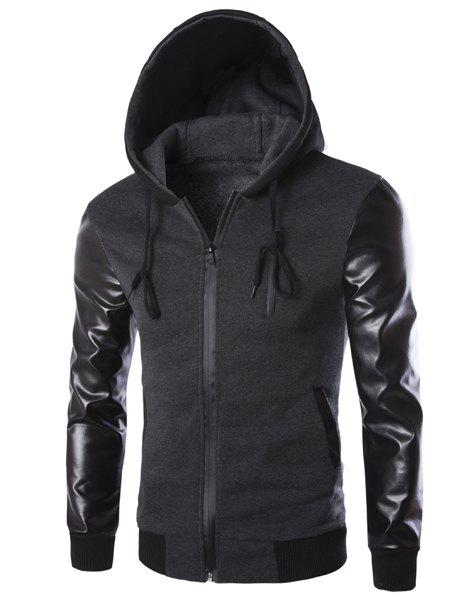 Latest Vogue Drawstring Hooded PU Leather Spliced Zipper Design Long Sleeves Men's Slimming Jacket