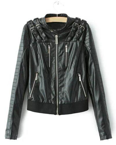 Shop Punk Style Stand Collar Solid Color Long Sleeve PU Leather Jacket For Women