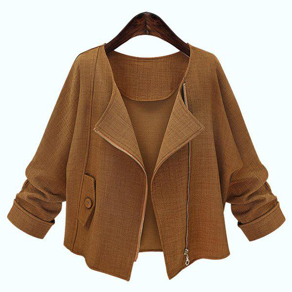 Hot Simple Style Long Sleeve Pure Color Jacket For Women