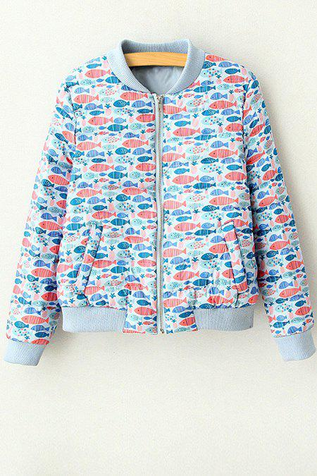 Discount Stylish Stand Neck Long Sleeve Full Fish Print Women's Jacket