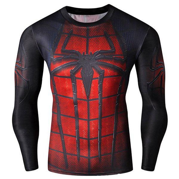 Unique Cool 3D Spider-Man Print Hit Color Skinny Quick-Dry Round Neck Long Sleeves Men's Superhero T-Shirt
