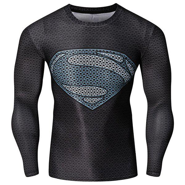Fashion Round Neck 3D Superman Pattern Skinny Quick-Dry Long Sleeves Mens Superhero T-ShirtMEN<br><br>Size: L; Color: COLORMIX; Material: Cotton,Spandex; Sleeve Length: Full; Collar: Round Neck; Style: Fashion; Weight: 0.45KG; Package Contents: 1 x T-Shirt; Embellishment: 3D Print; Pattern Type: Others;