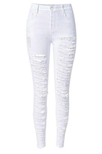 Buy Chic High-Waisted Broken Hole Design Solid Color Women's Jeans