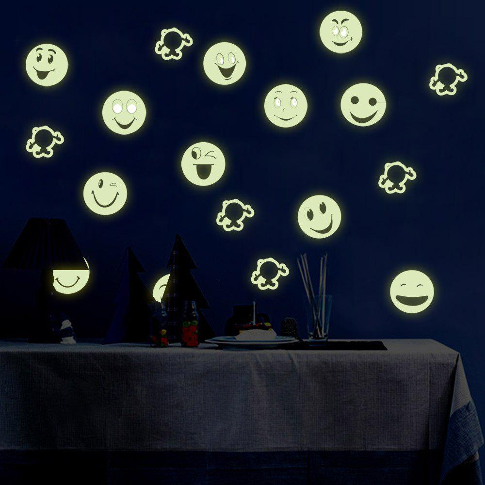 Shops Colorful Cartoon Smiling Face Style Fluorescent Wall Stickers Funny Luminous Wallpaper for Home Decorations