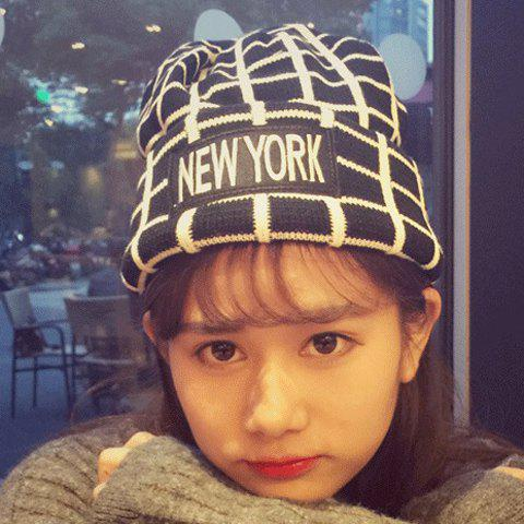 Affordable Chic Letters Applique Embellished Gingham Pattern Knitted Beanie For Women