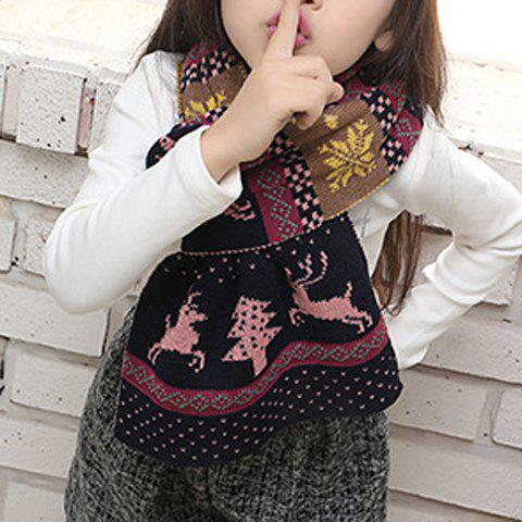 Hot Chic Christmas Deer and Snowflake Pattern Winter Scarf For Girls