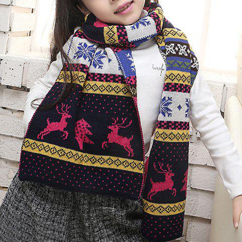 Shop Chic Christmas Deer and Snowflake Pattern Winter Scarf For Girls