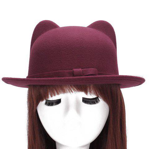 29% OFF   2019 Chic Small Bow Lace-up Embellished Felt Cat Ear Hat ... 1f7aa4355770
