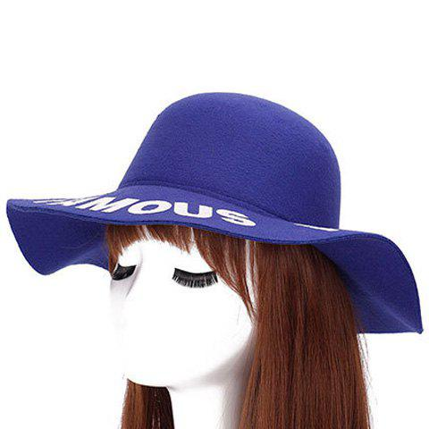 Store Chic Capital Letters Pattern Brim Round Top Felt Jazz Hat For Women