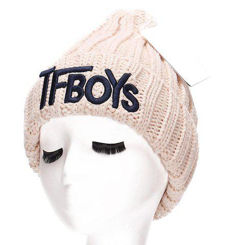 Hot Chic Name Letters Embroidery Thicken Knitted Beanie For Women