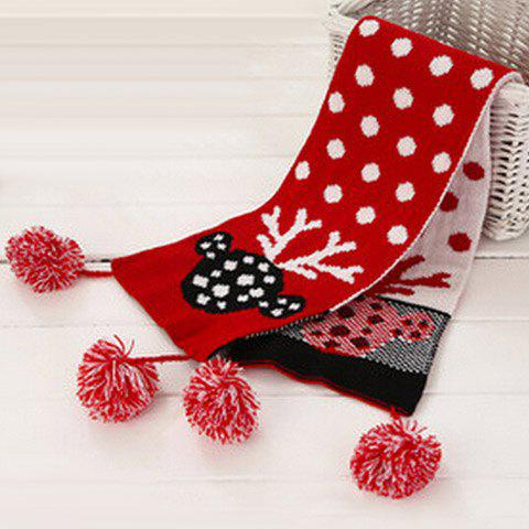 Store Chic Small Ball Pendant Polka Dot and Deer Head Pattern Christmas Scarf For Girls