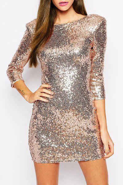 New Sexy Round Neck 3/4 Sleeve Sequined Bodycon Women's Club Dress