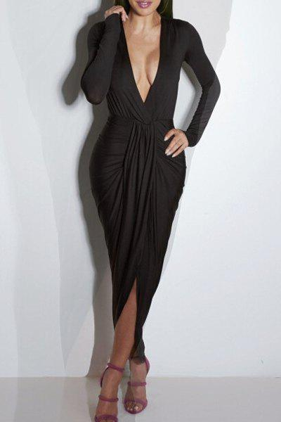 Fashion Maxi Low Cut Long Sleeve Cocktail Dress