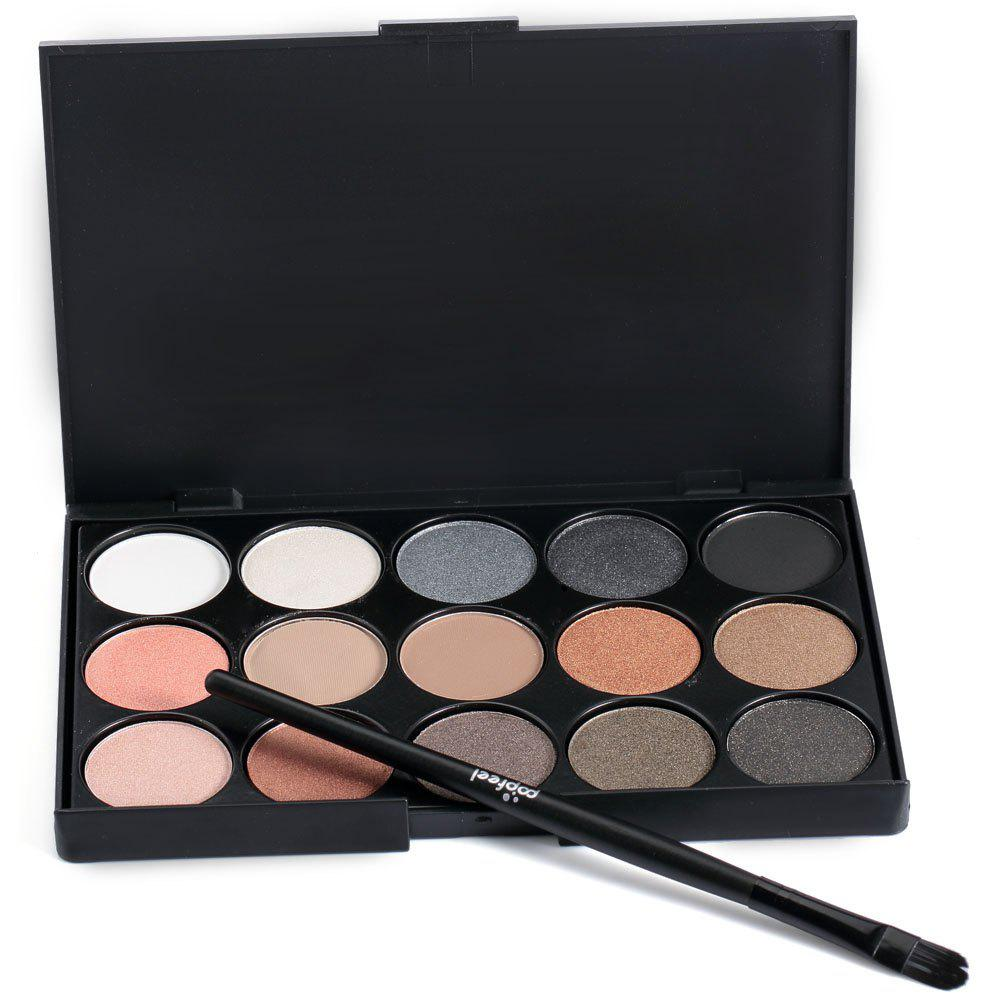 15 Colors Girl Makeup Natural Eye Shadow Palette with BrushBEAUTY<br><br>Color: BLACK 02#; Features: Easy to Carry,No Poison; Brush hair: Pony Brush; Net Content(ml): 92g; Color: Multi-color;