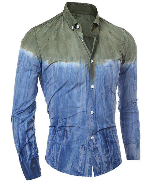 Discount 3D Tie-Dye Abstract Pattern One Pocket Slim Fit Shirt Collar Long Sleeves Men's Ombre Button-Down Shirt