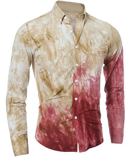 Trendy Tie Dye Print Button Down Shirt