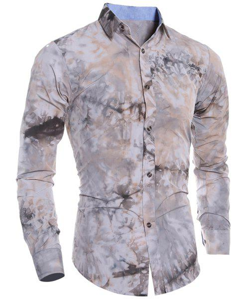 Store Abstract Floral Pattern 3D Tie-Dye Design Slimming Shirt Collar Long Sleeves Men's Shirt