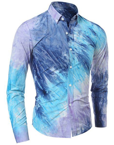 Pocket Tie Dye Print Button Down ShirtMEN<br><br>Size: L; Color: BLUE; Shirts Type: Casual Shirts; Material: Cotton Blends; Sleeve Length: Full; Collar: Turn-down Collar; Weight: 0.250kg; Package Contents: 1 x Shirt;