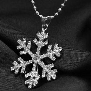 Alloy Snowflake Rhinestoned Pendant Necklace -