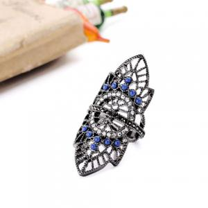 Retro Rhinestoned Hollow Out Leaf Ring -