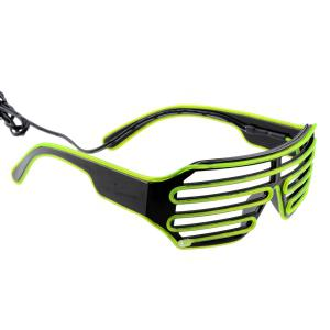 3-Mode Sound Control Cool LED Glasses with Controller Christmas Party Concert Ornaments - BLACK/GREEN