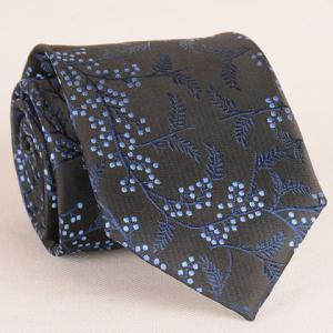 Stylish Blue Polka Dot and Leaf Jacquard 8CM Width Tie For Men