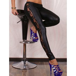 Lace Panel See-through Faux Leather Leggings