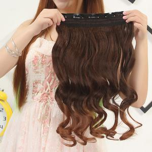 Fashion Fluffy Curly Stunning Long Brown Ombre Clip In Synthetic Hair Extension For Women - OMBRE