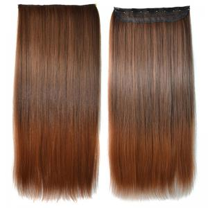 Elegant Silky Straight Clip-In Synthetic Trendy Long Light Brown Ombre Hair Extension For Women - Colormix - M