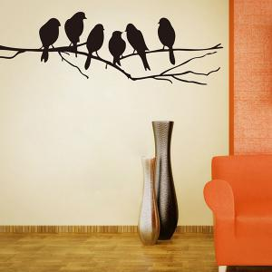 Sweet Branch Bird Pattern Removeable Toilet Wall Sticker Animals -