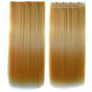 Charming Long Glossy Straight Fashion Blonde Ombre Clip In Synthetic Hair Extension For Women