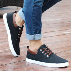 Simple Canvas and Criss-Cross Design Men's Casual Shoes - BLACK 44